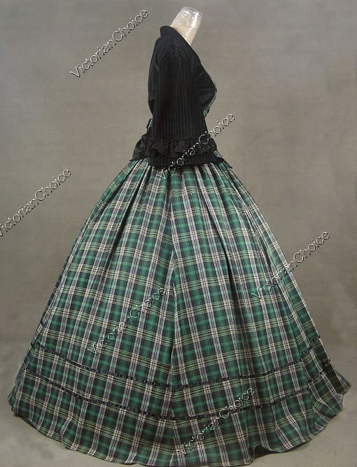 Civil War Victorian Tartan Velvet Ball Gown Day Dress Prom 160 M