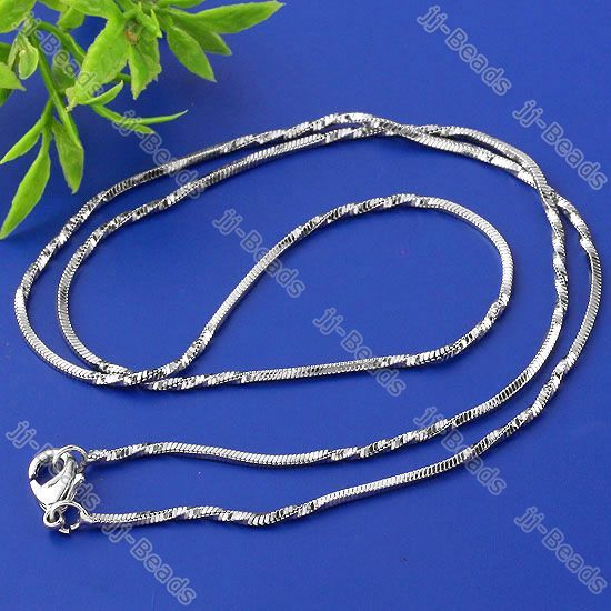 5pc White Gold Plated Snake Chain Brass Necklace 1x1mm