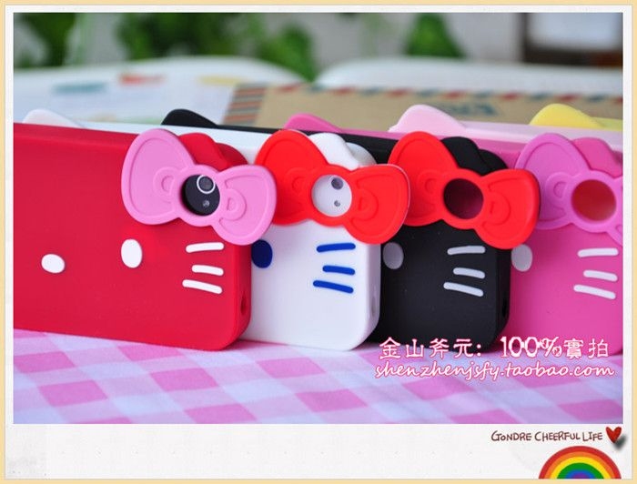 Super Lovely HelloKitty Face Soft Rubber Call Phone Case Cover For
