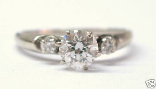 Fine Old European Cut Diamond Three Stone Ring WG 14KT