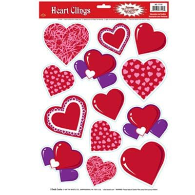 Valentines Day Heart Glass / Window Cling Decorations